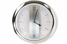 "Chrome Wall Clock 11"" inch Round Quartz Clock Silver Modern Home Garage Office"