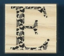 E STENCIL LETTER Alphabet 2x2 Medium Upper Case Wood CRAFT RUBBER STAMP New