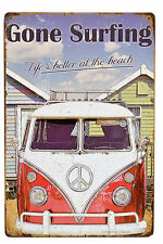 "Retro 12"" VW Van Surf Decor ""Life's Better at the Beach"" Metal Wall Sign Plaque"