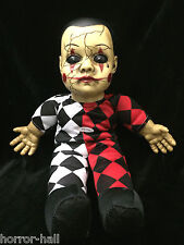 Harlequin Toy TALKING CREEPY HELLEQUIN CLOWN HAUNTED DOLL Horror Prop Decoration