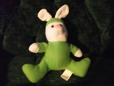 "11""  green/white plush bunny/rabbit made by Kelly toy"
