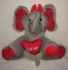 Elephant Plush Animal Adventure Grey Red Love Trunk Up Hair Bow Stuffed Toy 10""