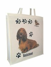 Dachshund Longhair (b) Cotton Shopping Bag Gusset and Long Handles Perfect Gift