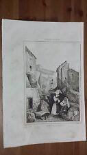 """1836 Veduta: Una strada a Civitella San Paolo """"Une rue de Civitella"""" (Lazio)"""