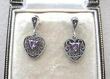 Dainty Deco Design Marcasite Silver & Amethyst CZ Heart Drop Earrings