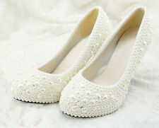 Handmade Heart Shape Pearl Bridal Bridesmaid Shoes Flat Wedding Shoes UK3-6.5