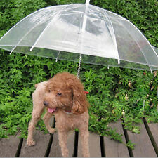 NEW Transparent Umbrella With Built-in Leash Pet Dog Puppy Cat Dry In Rain Sleet