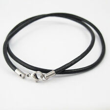 "20"" 21"" Black Surfer Leather Necklace Cord Silver Stainless Steel Lobster Clasp"