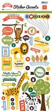 """ECHO PARK - """"Day at the Zoo"""" 6"""" x 12"""" Sheet of Stickers SO MUCH FUN AT THE ZOO!"""