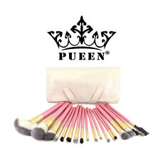 PUEEN Premium Quality 18 Piece Makeup Brush Set in Cream Leather Case