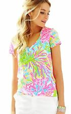 NWT Lilly Pulitzer Multi More Lovers Coral Michele V-Neck Top, Sz S, $44