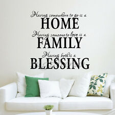 Home Family Blessing English Quote Saying Art Decal Wall Sticker Inspiration PVC