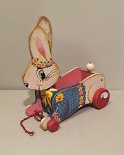 Vtg Fisher Price Wooden Pull Toy Rabbit Easter Basket Bunny Wagon Bobble Head