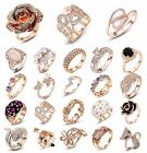 Hot Women 18K Rose Gold Filled Sapphire Crystal Wedding Engagement Jewelry Ring