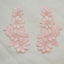 Floral Embroidery Guipure Lace Applique Motif - 1 Pair - Powder Pink - 15cm