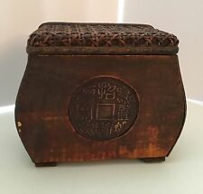 Wooden Ratan Type Box with Mandarin Lettering Storage Oils, perfumes and Other
