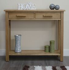 Arden solid oak furniture console hall table with two drawers
