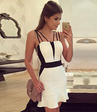 Simple White Strappy Bodycon Midi Club Casual Everyday Dress sz XL 12-14
