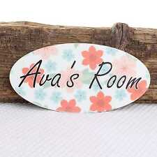 Personalised Door Name Plaque Flowers Boy Girls Bedroom Room Sign