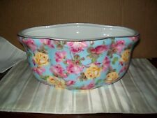 FORMALITIES BAUM BROS PINK YELLOW ROSES ON BLUE COLLECTION CERAMIC LARGE PLANTER