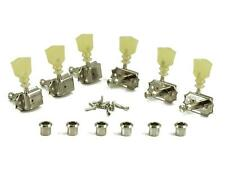 Kluson 3x3 Double Line-Double Ring Pearl Keystone Button Tuner Set - Nickel