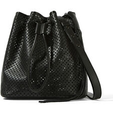 NWT Rebecca Minkoff Black Star Perforated Leather Drawstring Bucket Bag