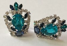 Gorgeous CHRISTIAN DIOR 1970 Germany Crown Earrings MINT CONDITION Crystal