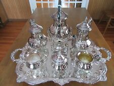TOWLE Silverplate Coffee Tea Set with Butler Tray - sugar creamer waste - 7 pc