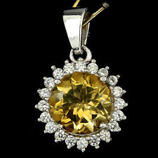 NATURAL ROUND YELLOW CITRINE SOLITAIRE & CZ ACCENTS 925 SILVER PENDANT ChainFree