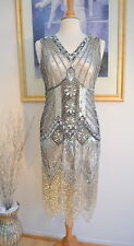 1920s Style Silver STARLIGHT Beaded Flapper Dress- S,M,L,XL or Plus sizes