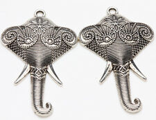 5pcs Tibet Silver Elephant Loose Spacer Beads Pendants Jewelry Making 45x27mm