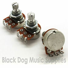 Set of strat guitar potentiometers Tone, Tone, Volume 16mm dia 2x A500K 1x B500K