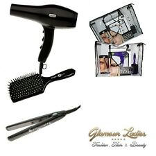 Professional 2000w Hair Dryer, 200c Straightener, Paddle Brush & Bag Set Plainb