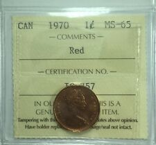 1970 Canadian One Cent ICCS Graded MS-65;  Red