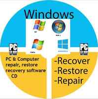 PC COMPUTER LAPTOP REPAIR RESTORE RECOVERY SOFTWARE CD DISC WINDOWS XP VISTA 7