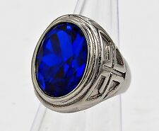 MEN RING SIZE 10 BLUE SAPPHIRE STAINLESS STEEL SILVER KNIGHT TEMPLAR POPE CROSS