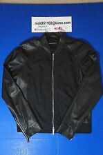 $1325 EMPORIO ARMANI LEATHER ZIP UP BOMBER BIKER JACKET BLACK LAMBSKIN 50 US 40