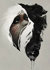 INDIAN WOMAN HIDDEN ANIMALS ART PRINT TOTEM JEFF LANGEVIN 20X28 wolves poster