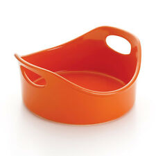 Rachael Ray Stoneware 2-Quart Round Bubble and Brown Baker, Orange