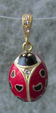 Lady Bug Pendant, Sterling Silver, Gold Plated w/ Swarovski Crystal, Red Enamel