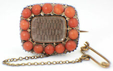 ANTIQUE GEORGIAN MOURNING BROOCH GEORGIAN GOLD FILLED CORAL MOURNING BROOCH 1825