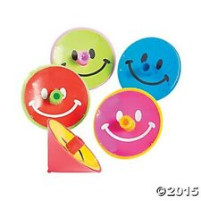 24 Smile Happy Face Colorful Spin Tops Kids Birthday Party Favors Toys Games