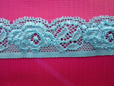 Beautiful (blue) flower pattern stretch lace ribbon 5 yards. free delivery