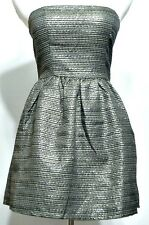 New with Tags!!  Ross Brand Ladies Black and Gold Lame Strapless Juniors Dress M