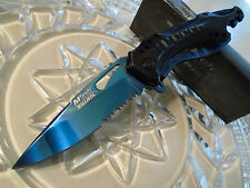 Mtech Ballistic Assisted Black Blue Titanium Sport Bike Pocket Knife Cap Lifter