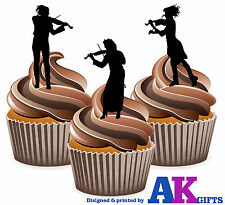 Violin Silhouette Player Mix 12 Edible Stand Up Cup Cake Toppers Decorations