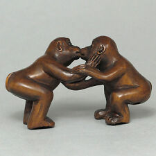 """1940's Japanese handmade Boxwood Netsuke """"Two lovely Monkeys"""" Figurine Carving"""
