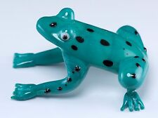 "Hand Blown Art Glass Aqua Turquoise Spotted Tree Frog Figurine 2 3/8""L New!"