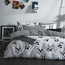 Black and White Duvet Cover Set 100% Cotton Black and White Stripe Bedding