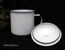 """LARGE 6"""" Enamel Metal Cup / Mug & Lid ~ Reproduction Vintage Enamelware"""